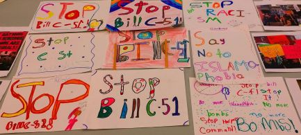 TRT's grade 3 students made posters against Bill C51 and islamophobia.